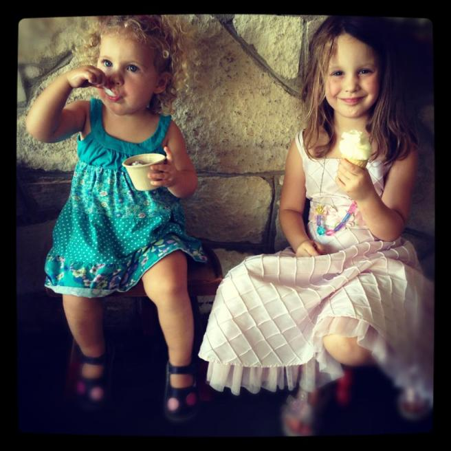 Is it happiness or bliss when you get to eat icecream in beautiful dresses?