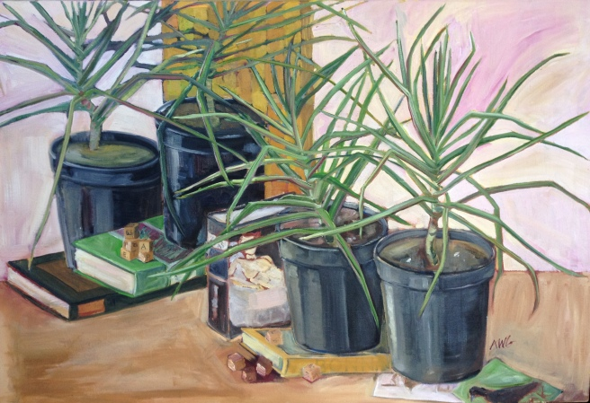 "Here's one of my paintings.  It's called, ""houseplants."""