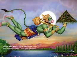 Hanuman, the son of the wind god, can make himself very large.  Here he is so large (and can leap so far) that he was able to lift up a special mountain that had flowers that could make bring the injured or dead BACK TO LIFE!  special flowers...
