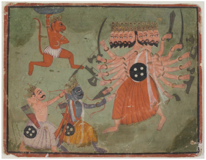 Rama, Lakshmana and Hanuman, the monkey, battle Evil Ravana (He's the one with all the heads.)