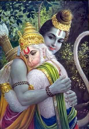 Raman and Hanuman embrace