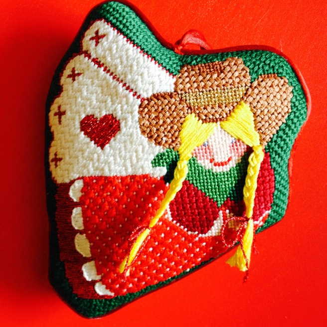 cross stitch love cowgirl ornament