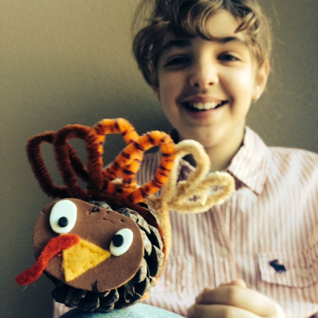 Hazel and her turkey creation.